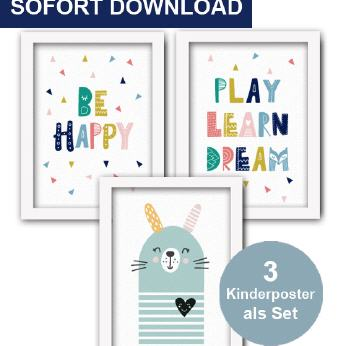 Kinderzimmer-Kinderposter-Play Learn Dream